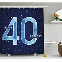 40th Birthday Decorations Shower Curtain by Ambesonne, Abstract Modern Design Geometrical Number Forty Emblem, Fabric Bathroom Decor Set with Hooks, 84 Inches Extra Long, Dark Blue Light Blue