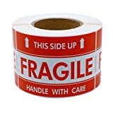 """Hybsk 2""""*3"""" Handle With Care This Side Up Fragile Stickers Adhesive Label 300 Per Roll"""