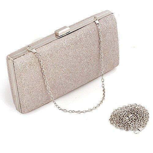 - Ladies luxury Braided Fabric Evening Handbag Clutches Bag (Champagne)