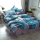Classic Bedding Duvet Cover Set,Duvet Cover with 2 Matching Pillowcase Egyptian Cotton Checkered Pattern Bedding Set for Boys/Girls-King
