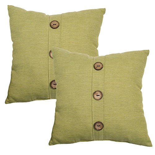 18 in. Luxe Solid Outdoor Toss Pillow with Coconut Leaf Buttons (2-Pack) by Hampton Bay