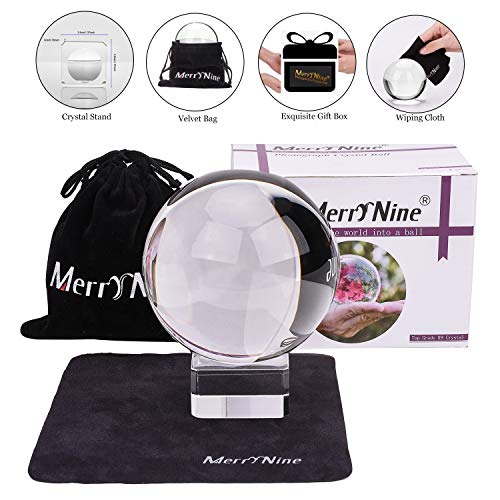 Photograph Crystal Ball with Stand and Pouch, K9 Crystal Suncatchers Ball with Microfiber Pouch, Decorative and Photography Accessory (80mm/3.15