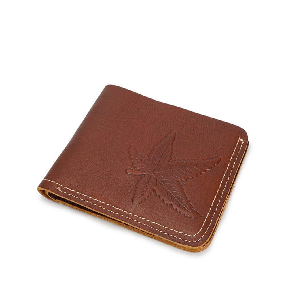 XINXI Home Herren Wildleder leichte Leder Kurze Geldbörse Geldbörse Geldbörse Leder Retro Brieftasche Ahornblatt Muster (Farbe   B) B07MDBR2GH Geldbrsen e1bc9a