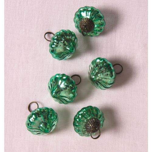 Luna Bazaar Mini Mercury Glass Ornaments (1-Inch, Lucy Design, Vintage Green, Set of 6) - Vintage-Style Decorations for Home or Holiday