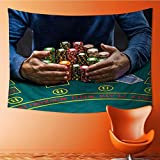 AmaPark Wall Tapestry Home Decor Poker Player Taking Poker Chips After Winning Tapestries for dorms 60W x 40L Inch