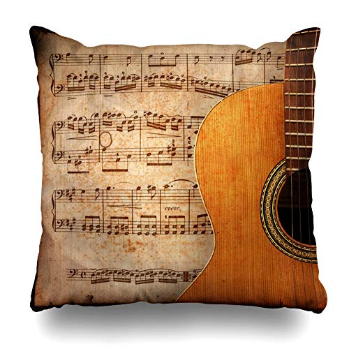 (Ahawoso Throw Pillow Cover Music Instrument Ancient Sheet Rusted Old Yellow Guitar Vintage Song Rock Notes Design Decor Zippered Cushion Case 18