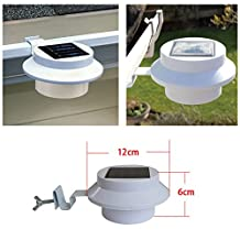Solar Fence Light With Bracket White Superbright 3 LED Solar Powered Lights for Gutters or Garden Fences, Garage, Shed, Walkways, Stairs(3pcs Pack)