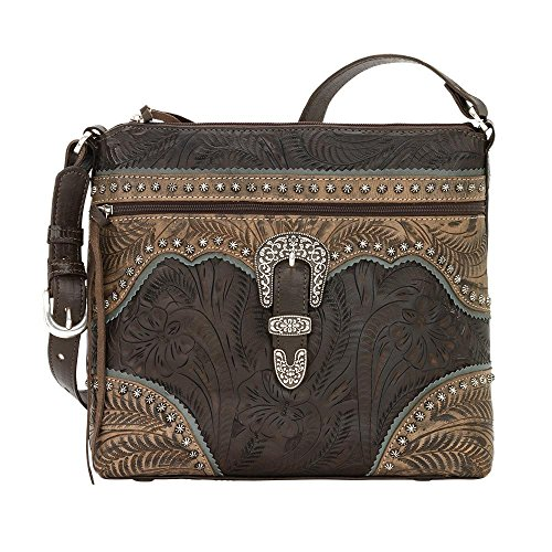 American West Women's Saddle Ridge Zip Top Shoulder Bag Chocolate One Size by American West (Image #6)