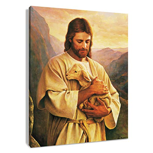 HVEST Jesus Christ Canvas Wall Art Lord Holding a Lamb in Mountain Picture Printed Artwork for Living Room Bedroom Bathroom Wall Decor,Stretched and Framed Ready to Hang,16x20Inches