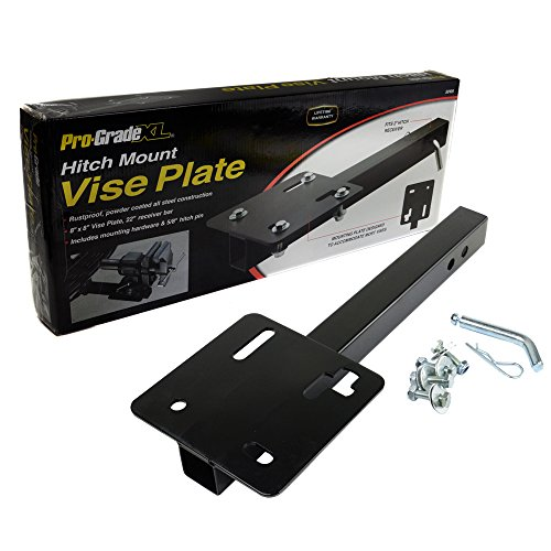 Pro-Grade 8'' x 8'' Steel Bench Vise Plate Hitch Mounted for 2'' Receiver 22'' Receiver Bar by Pro-Grade