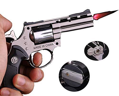 FengFang Windproof Lighter Revolver Inflatable Reusable Flame Size Adjustment Metal Butane Torch ()