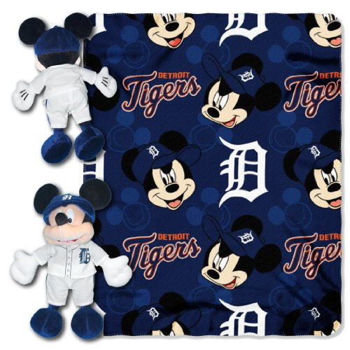 - Officially Licensed MLB Detroit Tigers Pitch Crazy Co-Branded Disney's Mickey Hugger and Fleece Throw Set