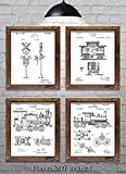 "Gifts for Railroaders - Set of Four 8""x10"" Vintage Railroad Patent Prints - Great Gift for Train Enthusiasts!"