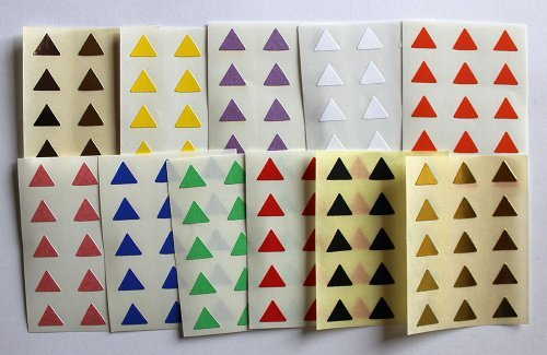 Minilabel Mixed Colours 165 Labels, 10mm Triangle Shape, Self-Adhesive Stickers, Shapes