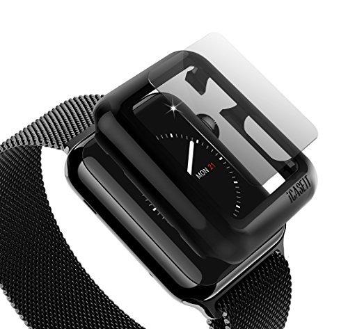 Apple Watch Case Screen Protector: 38mm (Pack of 3) - iCASEIT Bumper with Glass for full face Protection Cases (Include 3 Screen Protectors) iWatch Cases 38 mm - Black x 3 by iCASEIT