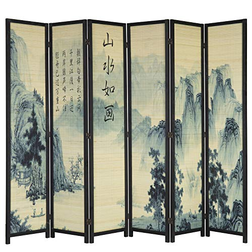 MyGift 6-Panel Bamboo Screen Freestanding Room Divider with Asian Calligraphy Artwork Design (Screen Dividers Oriental)