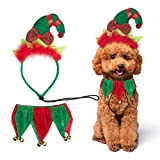 PAWCHIE Dog Christmas Costume Elf Headband and Bell Collar Pet Costume Accessories for Small Dogs