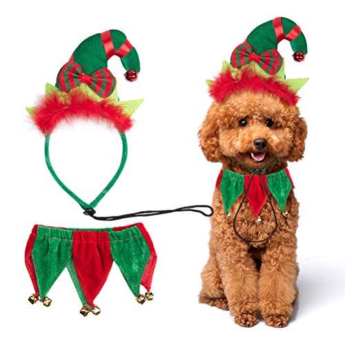 PAWCHIE 개 크리스마스 의상 엘프 머리띠와 벨 칼라 작은 개를위한 애완 동물 의상 액세서리