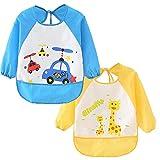 Cute Cartoon Unisex Infant Toddler Baby Waterproof Sleeved Bib, Baby Toddler Smock (6 Months-3 Years) (Blue+yellow)