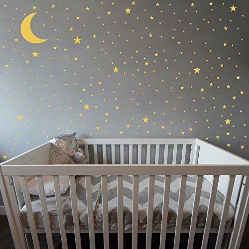 Moon and Stars Wall Decals,Removable Vinyl Wall Stickers for