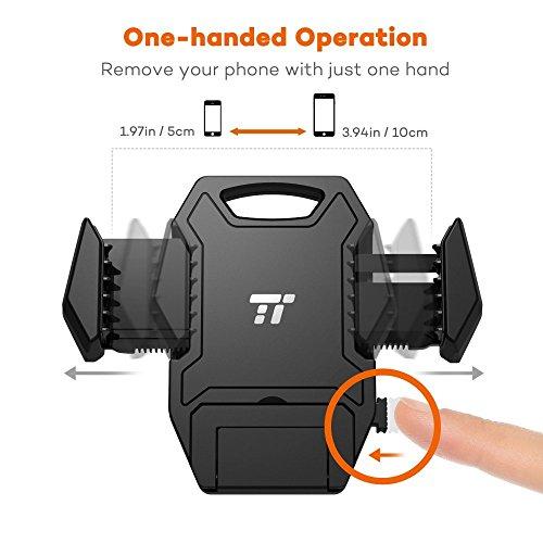 Soporte Móvil Coche TaoTronics con Ventosa Ajuste con Una Sola Mano para Móviles de Gran Tamaño 5.16 / 13 cm a Su Alcance