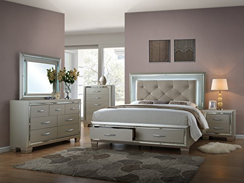 Home Source H-1064-K4N Bed/Dresser/Mirror/Night Stand Set, King, Platinum