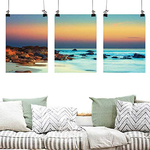 Oil Painting Modern Wall Art Posters Nature Colorful Sunset Over Sea Stones on Foreground Caribbean Coast Scenery Picture Painting Home Decor Prints Posters 3 panels 24x47inchx3pcs Turquoise Orange
