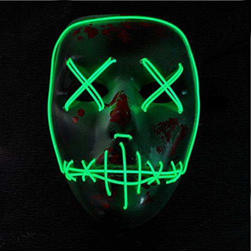 Scary Mask Halloween Cosplay EL Wire Light UP Led Mask Costume for Festival Parties,Green