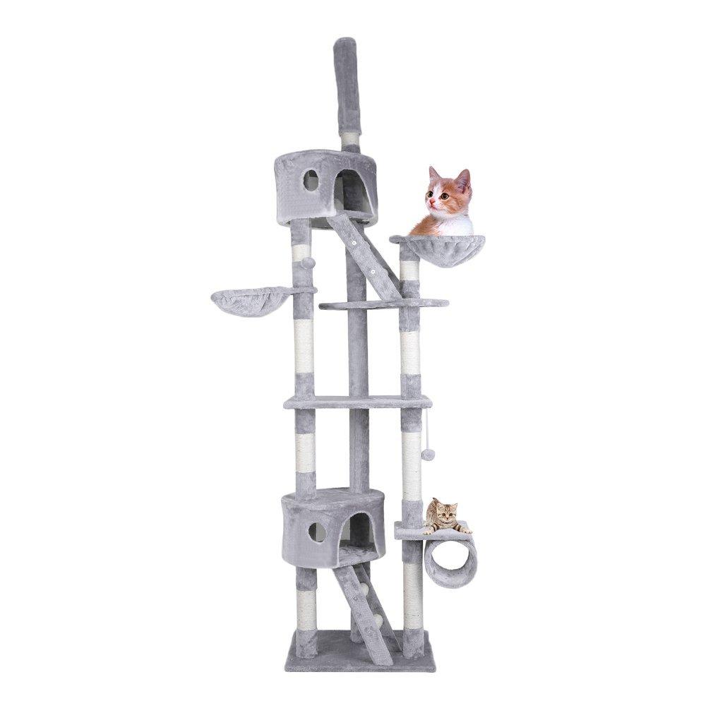 Homgrace Árbol para Gato Lujoso con Rascador, 2 Casetas con Recubrimiento de Felpa, Ajustable 240-260cm Color Gris: Amazon.es: Productos para mascotas