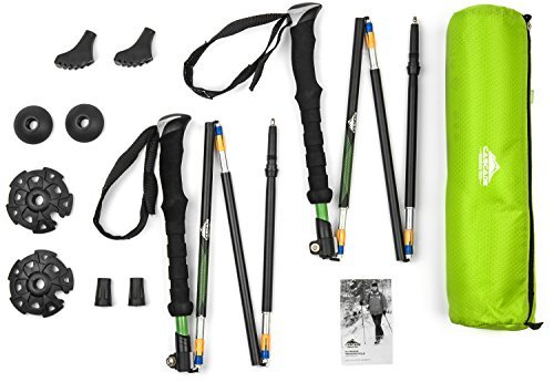 2 Pack Durable Aluminum Compact Folding Collapsible Trekking Hiking Poles with Ergonomic EVA grip including Removable Tip Options (Green)