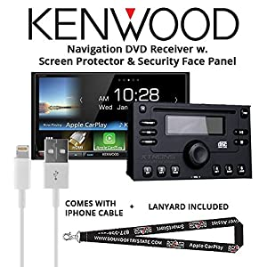"Kenwood DDX9904S In Dash DVD CD 6.95"" Touchscreen Display, Built in Bluetooth, with Screen Protector, Security Face Panel, Lightening to USB Adapter and a FREE SOTS Lanyard"