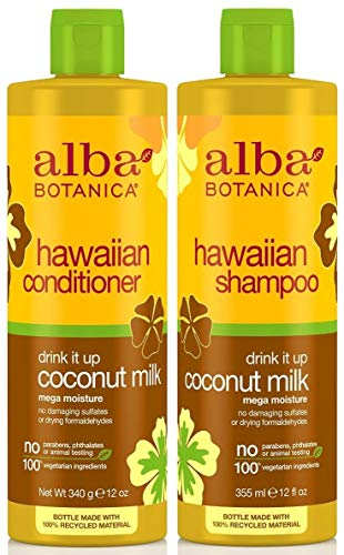 Alba Botanical Shampoo - Alba Botanica Drink It Up Coconut Milk, Hawaiian Duo Set Shampoo and Conditioner, 12 Ounce Bottle Each