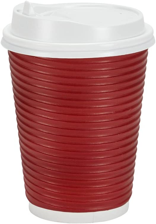 PREMIUM Disposable Hot Paper Cups With Lids, Double Wall & Ripple Insulation For Heat Protection, 30 Count - 12 oz.