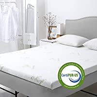 LANGRIA 3-Inch Gel-Infused Memory Foam Mattress Topper CertiPUR-US Certified Gel Memory Foam, Removable Zipper, Hypoallergenic Bamboo Cover (Queen)
