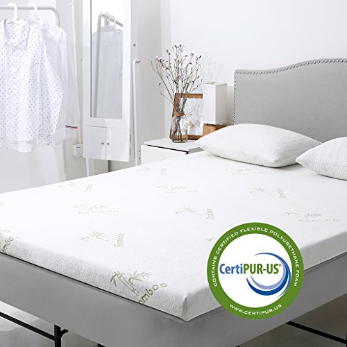 LANGRIA 2-Inch Gel-Infused Memory Foam Mattress Topper CertiPUR-US Certified Gel Memory Foam, Removable Zipper, Hypoallergenic Bamboo Cover (Queen)