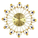 HSRG Simple Morden Wall Clock Non Ticking Quality Quartz Battery Operated Round Easy to Read Gold Large Clock(Size:55Cm55Cm)