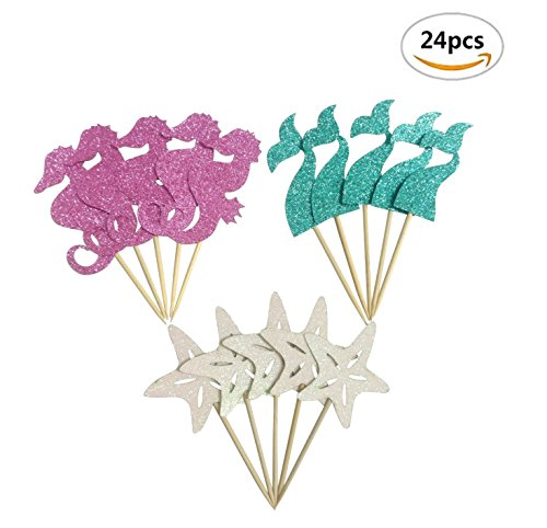 Price comparison product image Maydolbone 24pcs Glitter Mermaid Theme Cupcake Toppers- birthday or baby shower Food Picks Decor And Cupcake Party Pick Fishtail Starfish Seahorse
