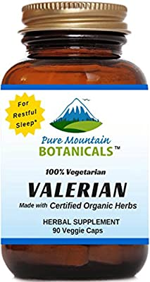 Valerian Capsules - 90 Kosher Vegetarian Caps - Now with 500mg per Capsule Certified Organic Valerian Root Powder - Nature's Support for Sound Sleep