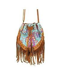 Canvas Fringe Tassel Bag Flower Printed Shoulder Bag Drawstring Bucket Bag Casual Crossbody Bag
