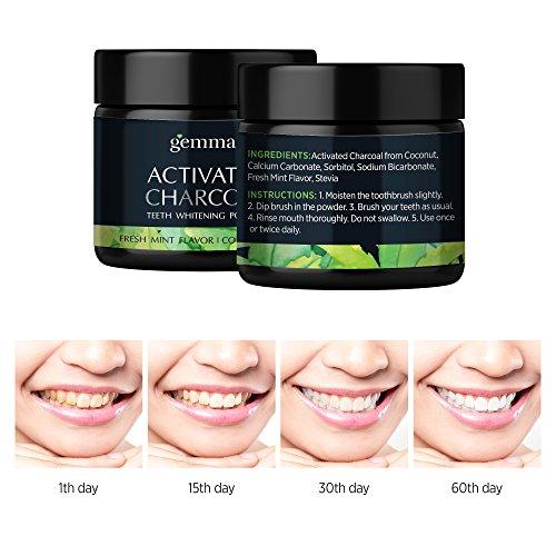 Gemmaz Charcoal Teeth Whitening Powder, Coconut Activated Charcoal Teeth Whitening, Enamel Safe Teeth Whitener for Sensitive Teeth Gums, Fresh Mint Flavor 30g by Gemmaz (Image #4)
