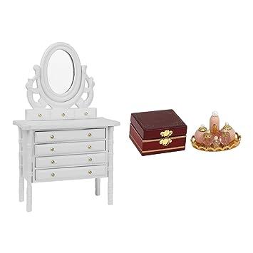 Amazon.es: Baosity 3pcs 1/12 Miniaturas Mesa de Maquillaje + Caja Cosmética + Botella de Perfume de Plástico de Casa de Muñeca: Juguetes y juegos