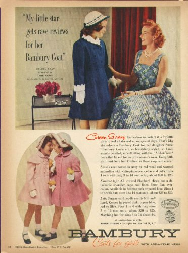 Coleen Gray for Bambury Coast for Girls ad 1954