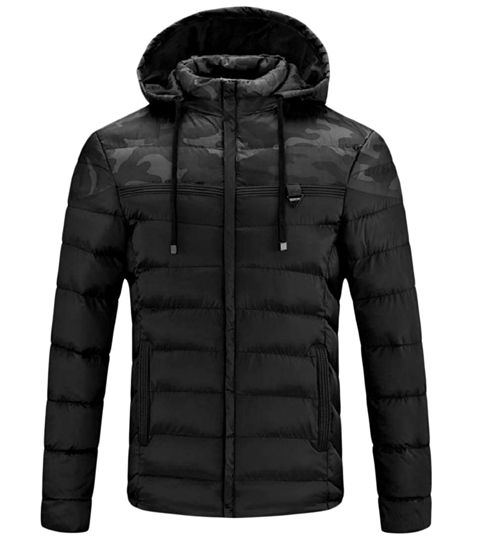 Tootless-Men Brumal Padded Fashion Puffer Pea Coat Quilted Hooded Zip Jacket