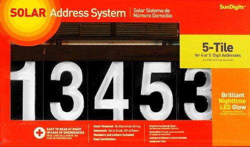 Sundigits 5 Digit Solar Led House Number (Lighted Mailbox)