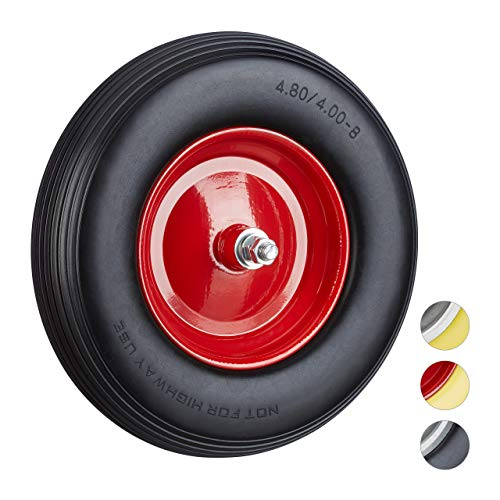Relaxdays Solid Rubber Wheelbarrow Tyre with Axle, 4.80 4.00-8 Spare Tire, 100 kg Capacity, Flat-Free, Black-Red