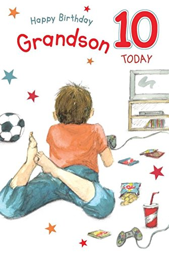 For A Special Grandson On Your 10th Birthday Card Lovely Verse Amazoncouk Kitchen Home