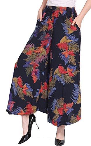 (UCSCAN Womens Comfy Elastic Waist Cotton&Linen Floral Culottes Wide Leg Pants Color 32 Size)