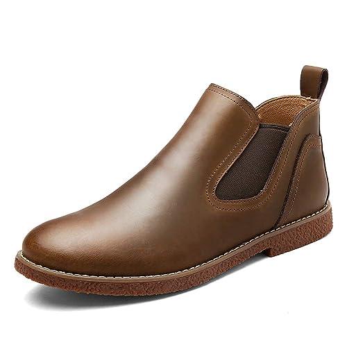 HILOTU Hombres Botines Chelsea, Zapatos de Vestir de Moda Estilo Británico Color Sólido Simple Botín: Amazon.es: Zapatos y complementos