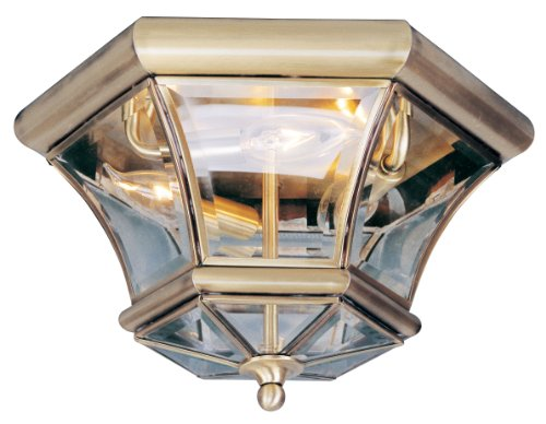 Livex Lighting 7053-01 Flush Mount with Clear Beveled Glass Shades, Antique Brass