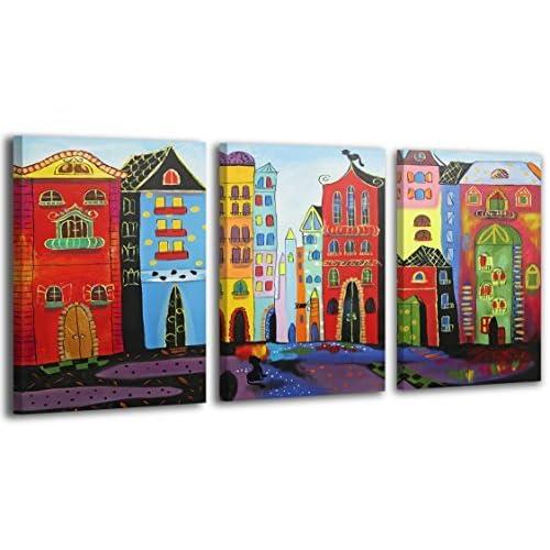 100% TRAVAIL FAIT À LA MAIN + certificat / Le tableau est dessiné par les couleurs acryliques Ville de rêve / tableaux sur la toile avec sous-cadre en bois naturel / tableau fait à la main / fixatio